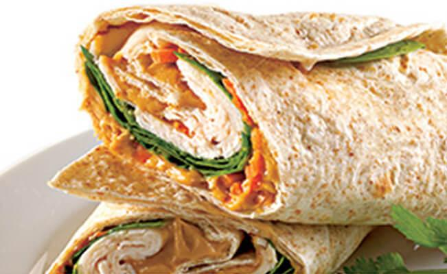 Thai Peanut Chicken Wrap - A Rich Source of Protein